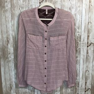 Free People Crochet Back Button Down